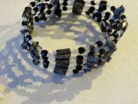 Collier-bracelet argent/noir